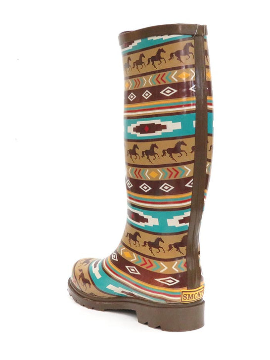 Smoky Mountain Womens Western Running Horses Waterproof Boots 6752 at JC Western Wear Back View