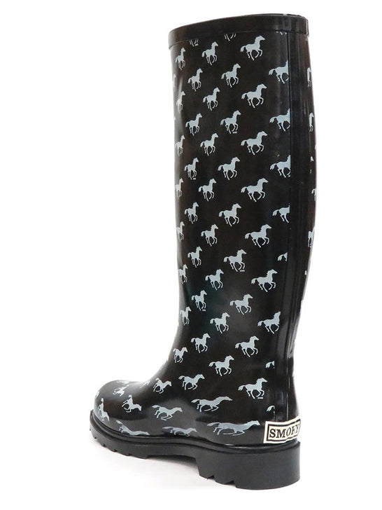 Smoky Mountain 6759 Womens Ponies Black Waterproof Boots at JC Western Wear Back View