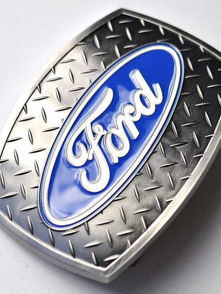 Ford Oval Diamond Plate Belt Buckle 09119 Close up