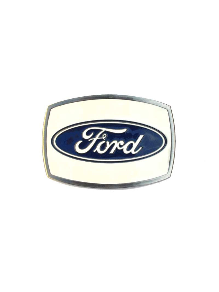 Ford Iconic Logo White Backgound Belt Buckle 09121
