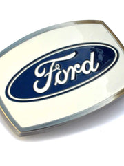 Ford Iconic Logo White Backgound Belt Buckle 09121 - D