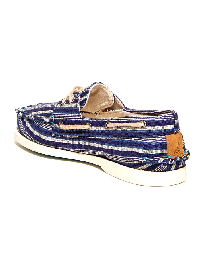 Sperry 10378745 Mens Authentic Original Striped Boat Shoe Blue Front