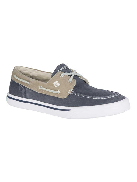 aef35591e4956 Sperry Mens BAHAMA II Boat Shoes Washed Navy Khaki STS17783