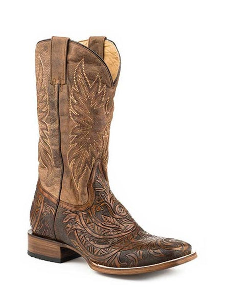 Stetson Hand Tooled Square Toe Western Boot Style number 12-020-8871-1654 BR
