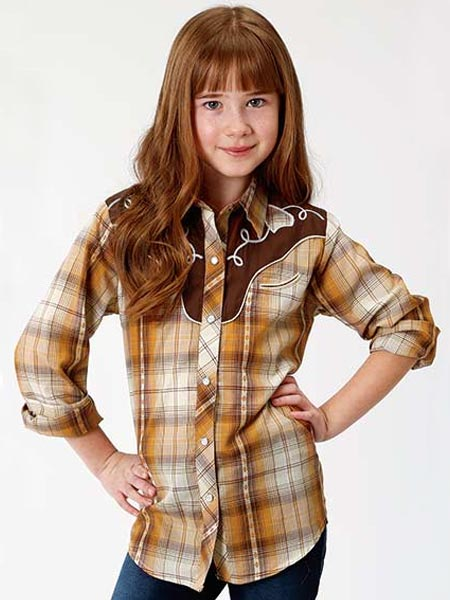 Roper 6003OR Girls Fancy Applique LS Western Plaid Shirt Cream Front View