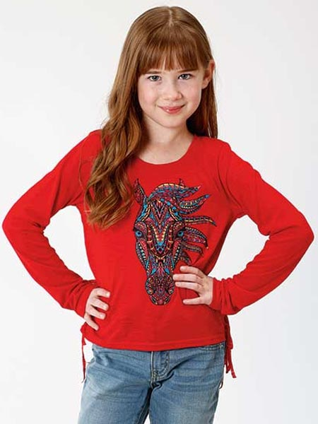 Roper 6079RE Girls Jersey Knit Long Sleeve Tee Red Front