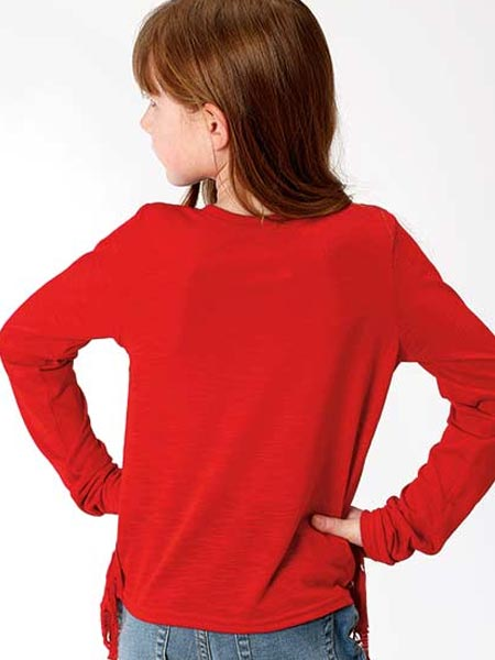 Roper 6079RE Girls Jersey Knit Long Sleeve Tee Red Back