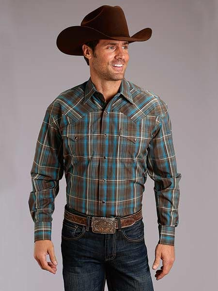 Stetson Mens Brown Long Sleeve Snap Western Rain Plaid Shirt 1002BR Front