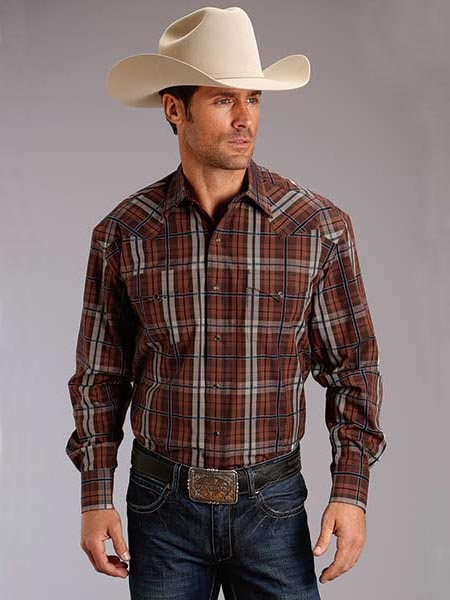 Stetson 1007BR Mens Maple Check Long Sleeve Snap Plaid Shirt Brown Front 11-001-0478-1007 BR