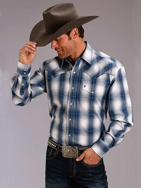 Stetson Mens Clear Water Ombre Long Sleeve Snap Plaid Shirt 1010BU Front