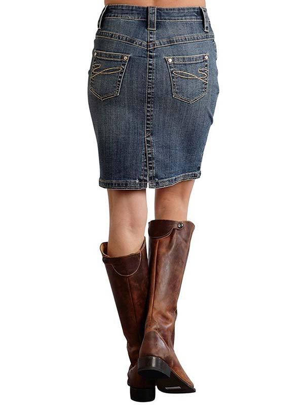 Stetson Womens Zip Pencil Blue Denim Western Skirt 11-060-0202-0740 BU