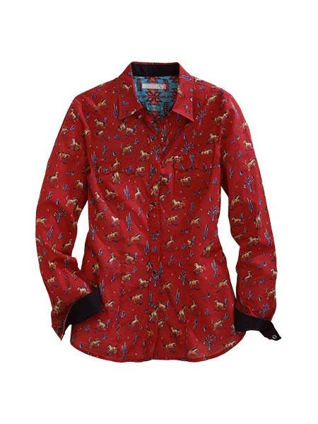 Tin Haul 0735RE Womens LS Kickin Up Dust Print Snap Shirt Red Front
