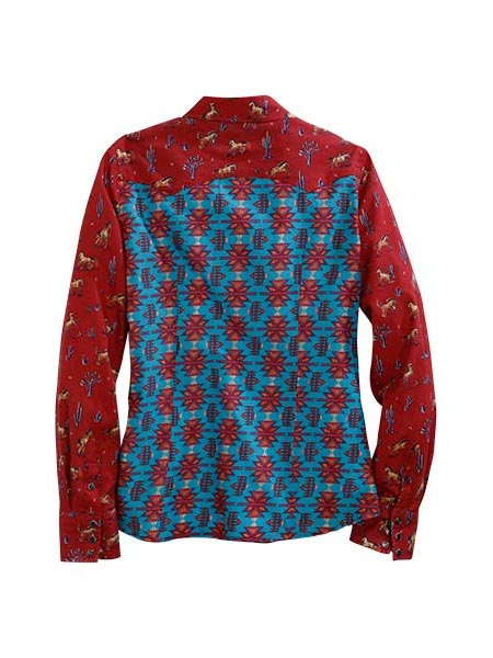 Tin Haul 0735RE Womens LS Kickin Up Dust Print Snap Shirt Red back
