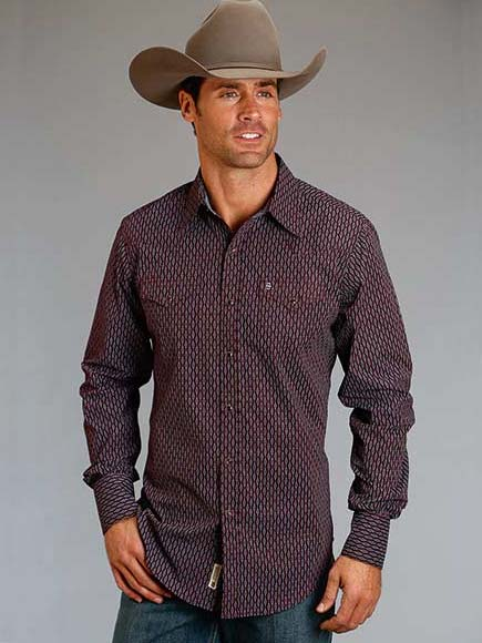 d7e8cac8 Men's Stetson Abacus Geo Print Modern Fit Western Shirts 11-001-0478-0679