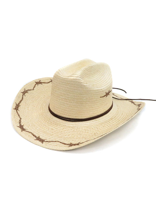 SunBody Kid's Cattleman Barbed Wire Natural Straw Hat HGKC-BW2 Side