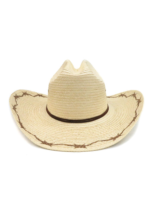 SunBody Kid's Cattleman Barbed Wire Natural Straw Hat HGKC-BW2 Front