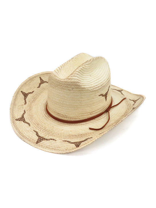 SunBody Kid's Distressed Longhorn Cattleman Natural Straw Hat HGKC-LHB3 Side