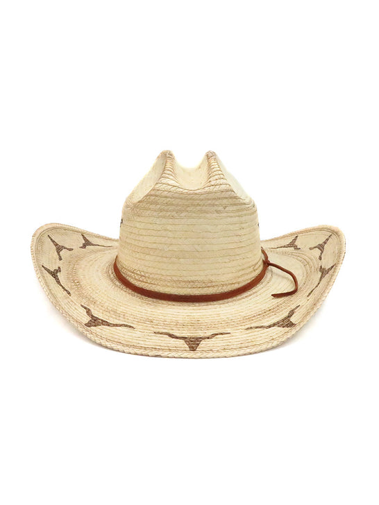 SunBody Kid's Distressed Longhorn Cattleman Natural Straw Hat HGKC-LHB3 Front