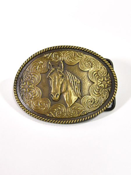 Taylor Brands TB211 Antique Brass Horse Head Oval Belt Buckle