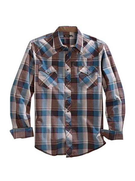 Tin Haul 0788BR Mens Trail Plaid Long Sleeve Snap Shirt Brown Front