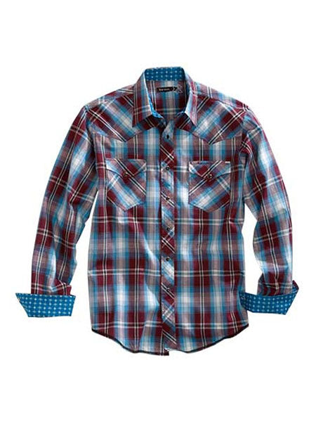 Tin Haul 0790WI Mens Red Ridge Plaid Long Sleeve Snap Shirt Wine Front
