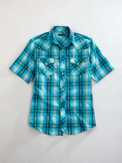 Tin Haul Mens BLUGRASS PLAID Short Sleeve Snap Shirt 0446BU Front