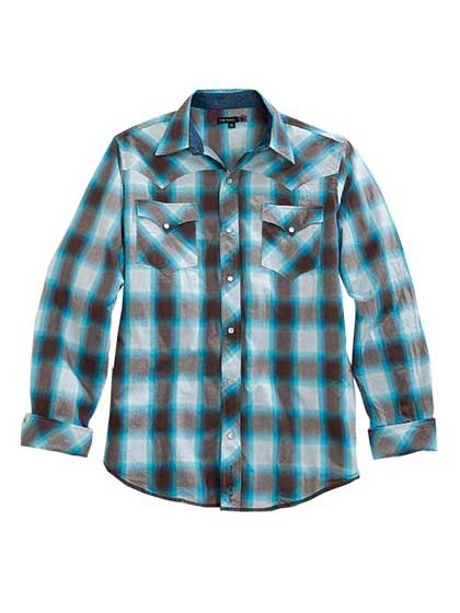 Tin Haul 250BU Mens HORIZON Western Plaid Snap Shirt Blue