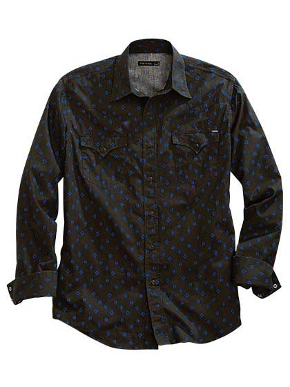 Tin Haul Mens AZTEC FOULARD Allover Print Snap Shirt 0764GR 10-001-0064-0764 GR