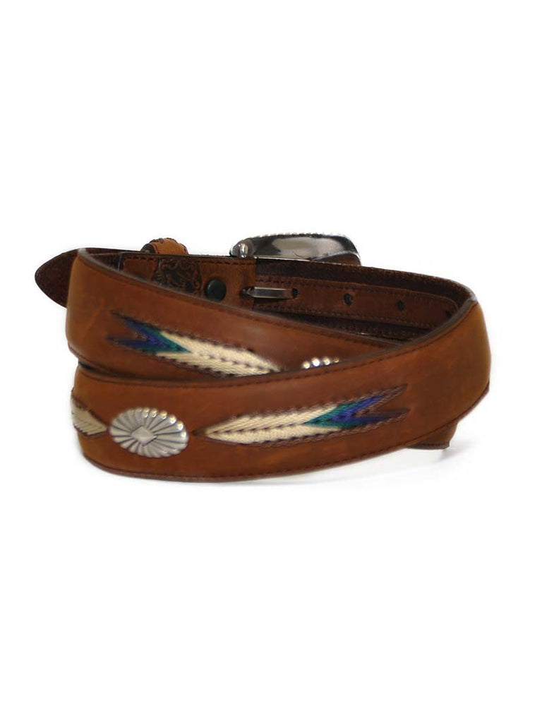 Tony Lama 7699L Mens De Colors Belt Aged Bark Front view