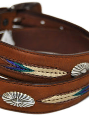Tony Lama 7699L Mens De Colors Belt Aged Bark Close up view