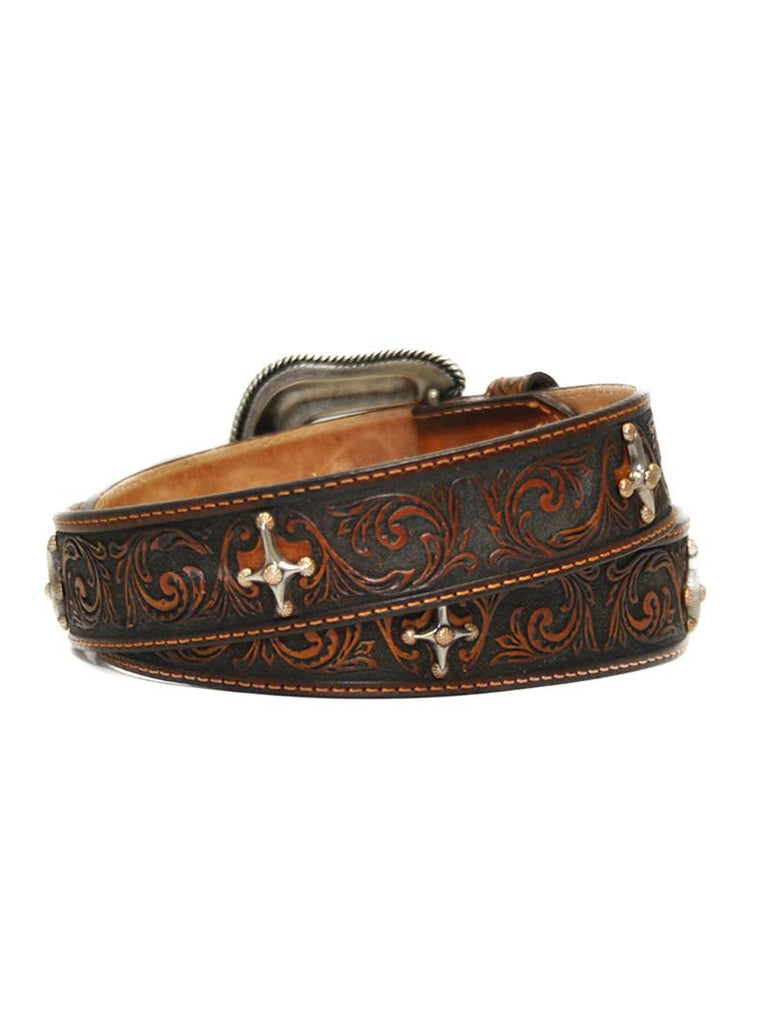 Tony Lama Womens Leather Brown Cross Conchos Cowgirl Faith Belt C51105
