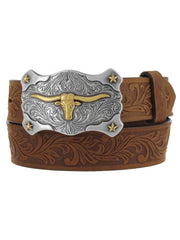 Tony Lama C60119 Kids Little Texas Belt Aged Bark