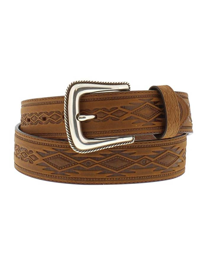 Tony Lama 1369L Mens Navajo Blanket Tooled Belt USA Brown Front View