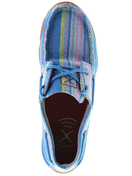 Twisted X WDM0048 Womens Canvas Driving Moccasins Loafers Blue