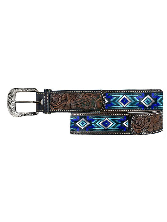 Twisted X XIBB-101 Mens Beaded Blues Western Tooled Leather Belt Fashion
