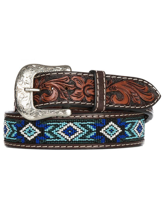 Twisted X XIBB-101 Mens Beaded Blues Western Tooled Leather Belt Front View