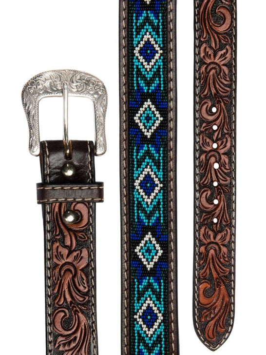 Twisted X XIBB-101 Mens Beaded Blues Western Tooled Leather Belt Top View