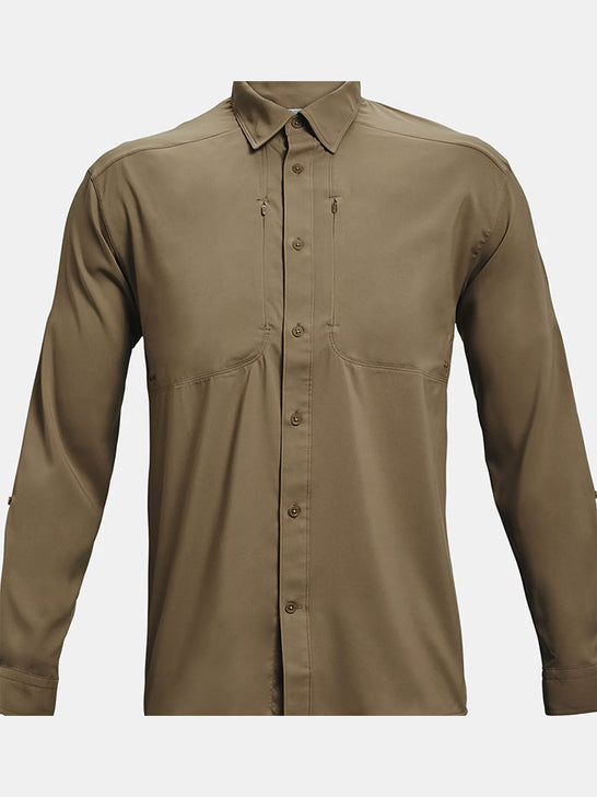 Under Armour 1351121-251 Mens Tide Chaser 2.0 Long Sleeve Shirt Brown on display