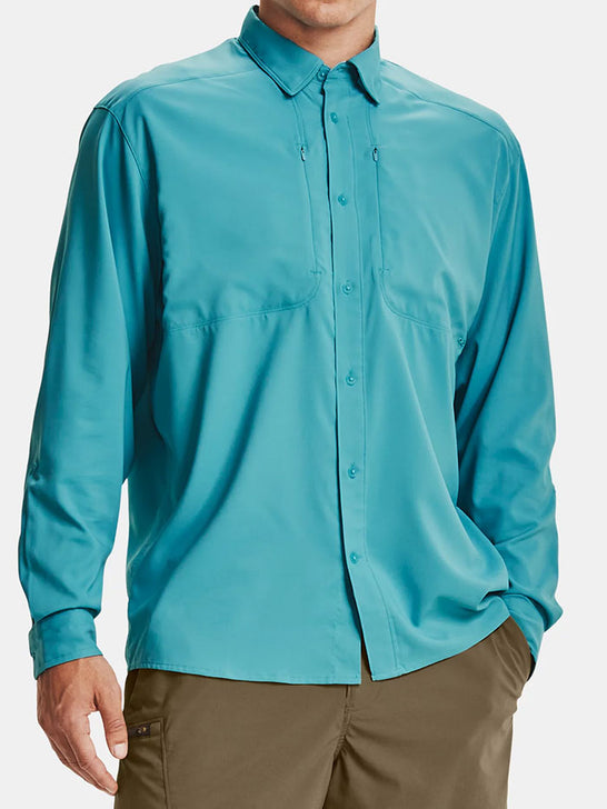 Under Armour 1351121-477 Mens Tide Chaser 2.0 Long Sleeve Shirt Teal Blue Front