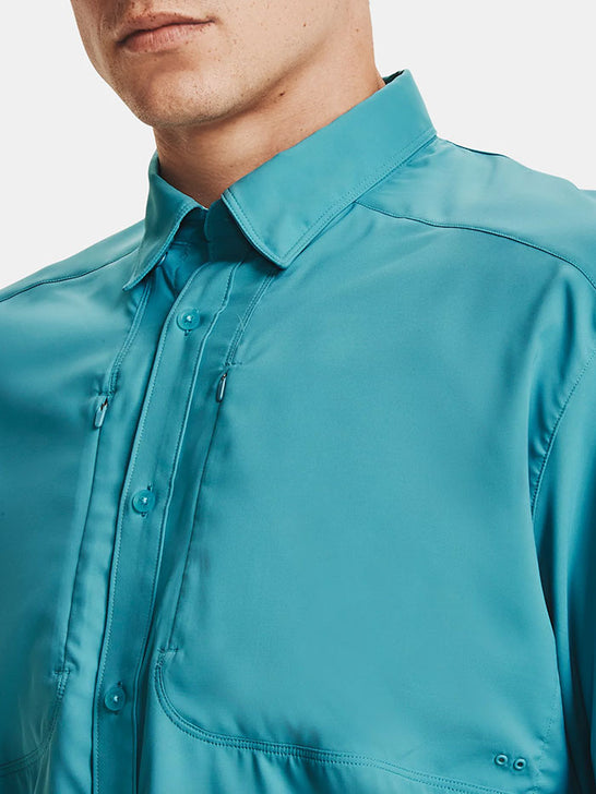 Under Armour 1351121-477 Mens Tide Chaser 2.0 Long Sleeve Shirt Teal Blue close up