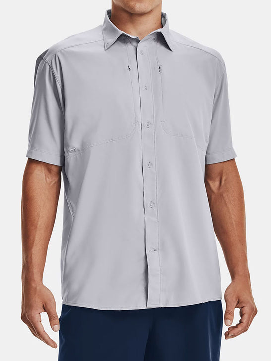 Under Armour 1351123-011 Mens Tide Chaser 2.0 Short Sleeve Shirt Gray FRONT SIDE