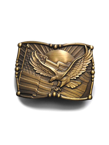 American Flag and Eagle Patriotic Belt Buckle BB1092 Spec Cast - J.C. Western® Wear