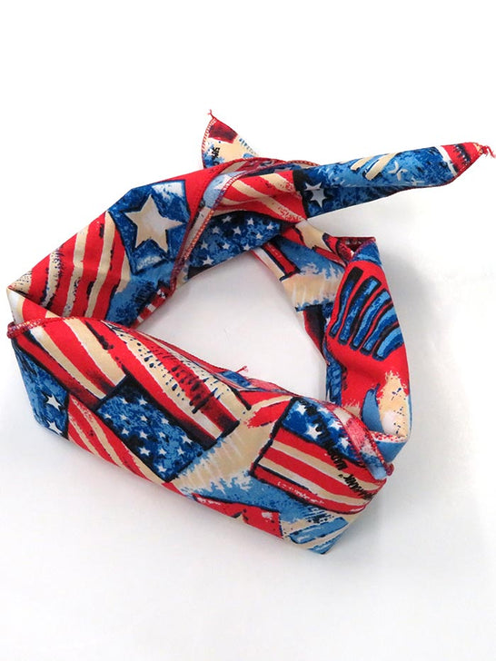"Patriotic USA Flag Bandana 21"" Fold"