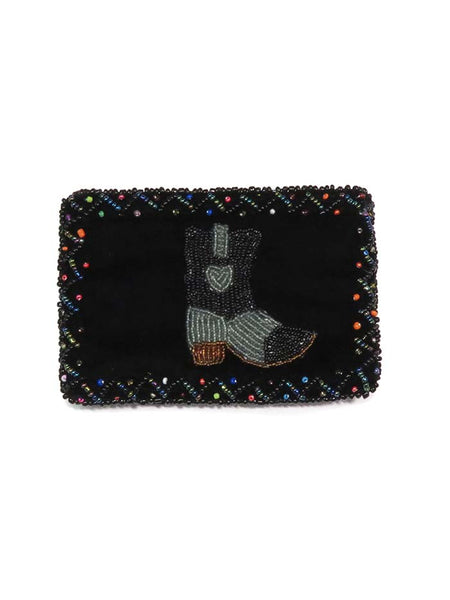 Western Beaded Grey Boot Velvet Small Coin Purse 753477 Front