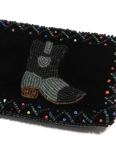 Western Beaded Grey Boot Velvet Small Coin Purse 753477 Close up