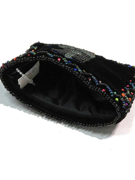 Western Beaded Grey Boot Velvet Small Coin Purse 753477 inside