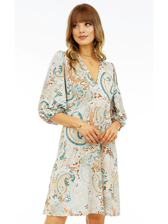 Veronica M DSS-2643 Womens Paisley Puff Sleeve Dress Multi color