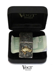 VOGT Hand Engraved Sterling Gold Bass Hinged Money Clip 121-033