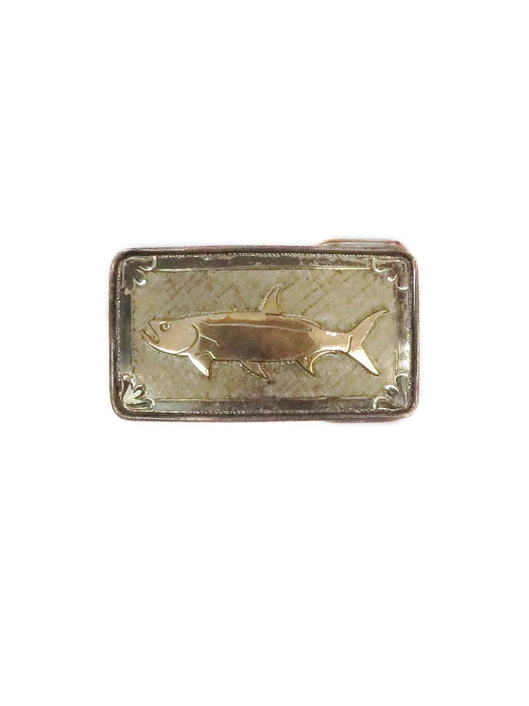 VOGT Hand Engraved Sterling Gold Bass Rectangle Belt Buckle 180-001