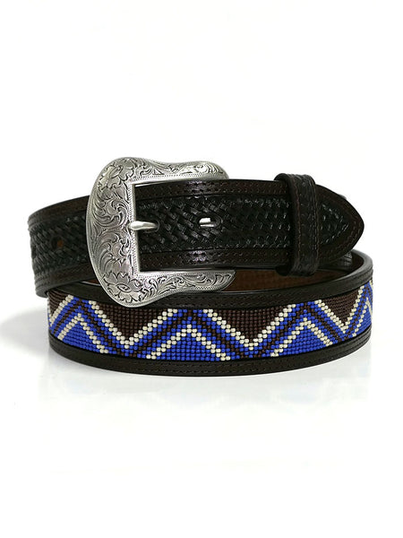 Ranger WB4162 Mens Beaded Inlay Western Belt Dark Brown Front